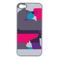 Strong Bear Animals Boxing Red Purple Grey Apple iPhone 5 Case (Silver)
