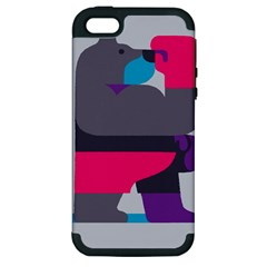 Strong Bear Animals Boxing Red Purple Grey Apple iPhone 5 Hardshell Case (PC+Silicone)