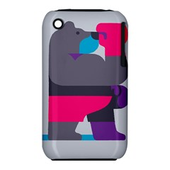 Strong Bear Animals Boxing Red Purple Grey iPhone 3S/3GS