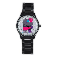 Strong Bear Animals Boxing Red Purple Grey Stainless Steel Round Watch