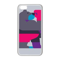 Strong Bear Animals Boxing Red Purple Grey Apple iPhone 5C Seamless Case (White)