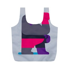 Strong Bear Animals Boxing Red Purple Grey Full Print Recycle Bags (M)