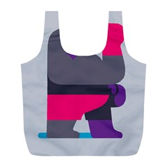 Strong Bear Animals Boxing Red Purple Grey Full Print Recycle Bags (L)