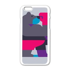 Strong Bear Animals Boxing Red Purple Grey Apple iPhone 6/6S White Enamel Case