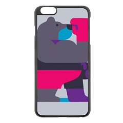 Strong Bear Animals Boxing Red Purple Grey Apple iPhone 6 Plus/6S Plus Black Enamel Case
