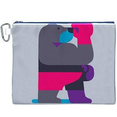 Strong Bear Animals Boxing Red Purple Grey Canvas Cosmetic Bag (XXXL)
