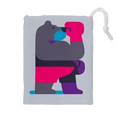 Strong Bear Animals Boxing Red Purple Grey Drawstring Pouches (Extra Large)