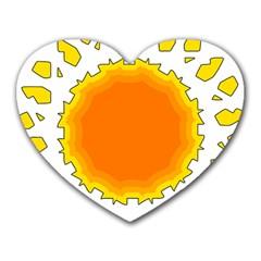 Sun Hot Orange Yrllow Light Heart Mousepads