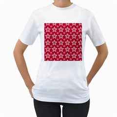 Star Red White Line Space Women s T Shirt (white) (two Sided)