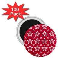 Star Red White Line Space 1.75  Magnets (100 pack)