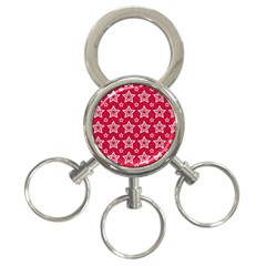 Star Red White Line Space 3 Ring Key Chains