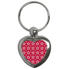 Star Red White Line Space Key Chains (Heart)