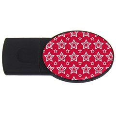 Star Red White Line Space Usb Flash Drive Oval (2 Gb)