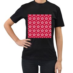 Star Red White Line Space Women s T-Shirt (Black) (Two Sided)
