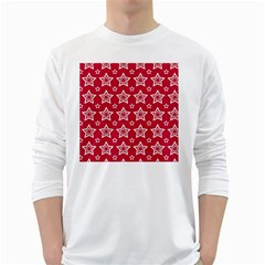 Star Red White Line Space White Long Sleeve T-Shirts