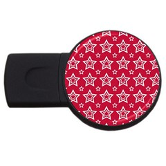 Star Red White Line Space USB Flash Drive Round (4 GB)