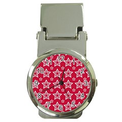 Star Red White Line Space Money Clip Watches