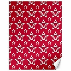 Star Red White Line Space Canvas 12  X 16