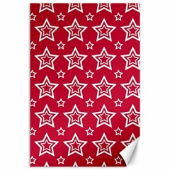 Star Red White Line Space Canvas 24  x 36