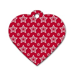 Star Red White Line Space Dog Tag Heart (Two Sides)