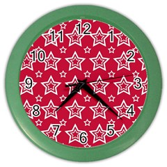 Star Red White Line Space Color Wall Clocks