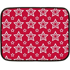 Star Red White Line Space Double Sided Fleece Blanket (Mini)