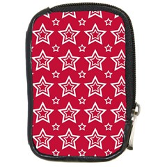 Star Red White Line Space Compact Camera Cases