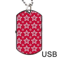 Star Red White Line Space Dog Tag Usb Flash (one Side)
