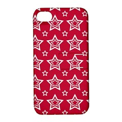 Star Red White Line Space Apple iPhone 4/4S Hardshell Case with Stand