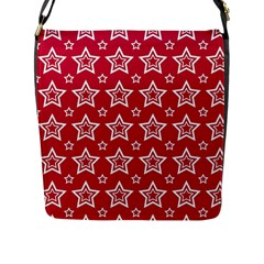 Star Red White Line Space Flap Messenger Bag (L)