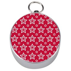 Star Red White Line Space Silver Compasses