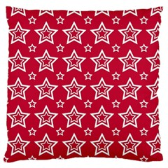 Star Red White Line Space Large Flano Cushion Case (Two Sides)