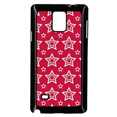 Star Red White Line Space Samsung Galaxy Note 4 Case (Black)