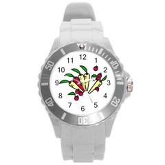 Tomatoes Carrots Round Plastic Sport Watch (L)