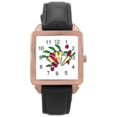 Tomatoes Carrots Rose Gold Leather Watch