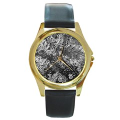 Fern Raindrops Spiderweb Cobweb Round Gold Metal Watch