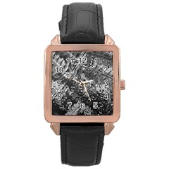 Fern Raindrops Spiderweb Cobweb Rose Gold Leather Watch
