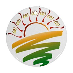Sunset Spring Graphic Red Gold Orange Green Ornament (Round)