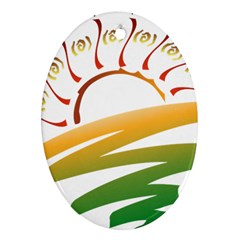 Sunset Spring Graphic Red Gold Orange Green Ornament (Oval)
