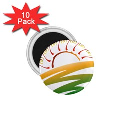 Sunset Spring Graphic Red Gold Orange Green 1 75  Magnets (10 Pack)