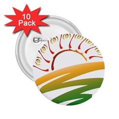 Sunset Spring Graphic Red Gold Orange Green 2.25  Buttons (10 pack)
