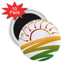 Sunset Spring Graphic Red Gold Orange Green 2.25  Magnets (10 pack)