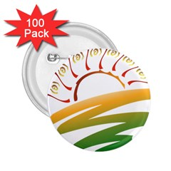 Sunset Spring Graphic Red Gold Orange Green 2.25  Buttons (100 pack)