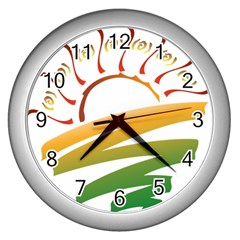 Sunset Spring Graphic Red Gold Orange Green Wall Clocks (silver)