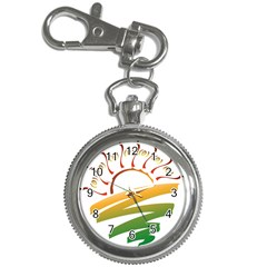 Sunset Spring Graphic Red Gold Orange Green Key Chain Watches