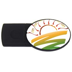 Sunset Spring Graphic Red Gold Orange Green USB Flash Drive Oval (2 GB)