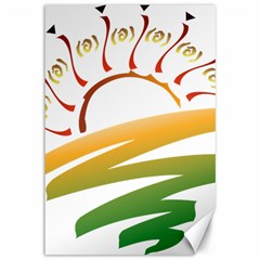 Sunset Spring Graphic Red Gold Orange Green Canvas 12  x 18