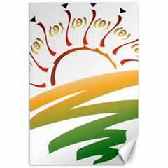 Sunset Spring Graphic Red Gold Orange Green Canvas 24  X 36