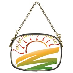 Sunset Spring Graphic Red Gold Orange Green Chain Purses (Two Sides)