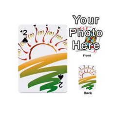 Sunset Spring Graphic Red Gold Orange Green Playing Cards 54 (Mini)